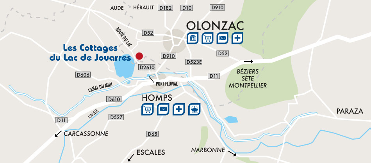 Parc résidentiel de loisir Les Cottages du Lac de Jouarres, plan d'accès