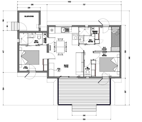 Plan chalet cottage T4